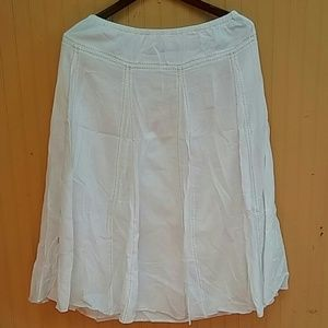White  Cotton Skirt with Stiches Decoration Sz 10